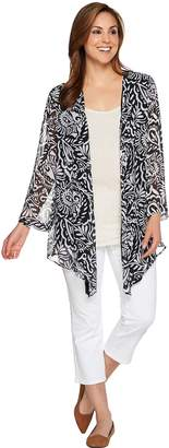 Susan Graver Printed Crinkle Chiffon Cardigan with Solid Layer