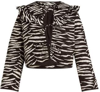 Ganni Faulkner Zebra Print Quilted Cotton Jacket - Womens - Brown Print