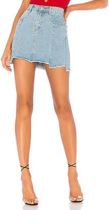 superdown Heather Step Hem Denim Skirt.