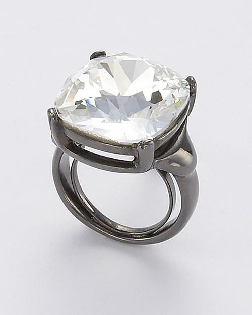Kenneth Jay Lane Gunmetal/Crystal Ring