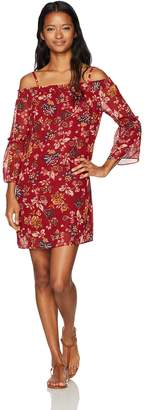 Amy Byer A. Byer Women's Printed Off The Shoulder Bell Sleeve Shift Dress