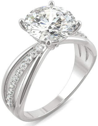 Charles & Colvard Moissanite Round Solitaire with Sides Ring (2-9/10 ct. tw. Diamond Equivalent) in 14k White Gold