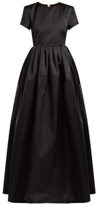 Rochas Gathered Duchess Satin Gown - Womens - Black