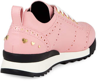 Love Moschino Power Studded Perforated Sneakers, Pink/Gold
