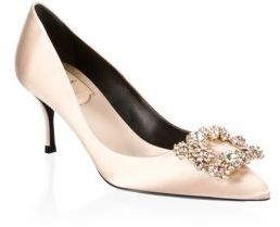 Flower Strass Buckle Satin Point Toe Pumps