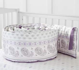 Pottery Barn Kids Keira Paisley Embroidered Bumper, Bumper, Lavender
