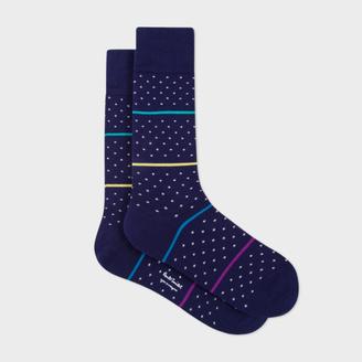 Men's Navy Fleur-De-Lis Socks With Stripes $30 thestylecure.com