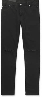 Balmain Slim-Fit Logo-Embroidered Distressed Denim Jeans - Men - Black