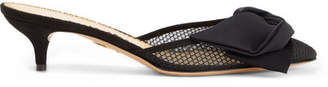 Charlotte Olympia Sophie Suede-trimmed Bow-embellished Fishnet Mules - Black