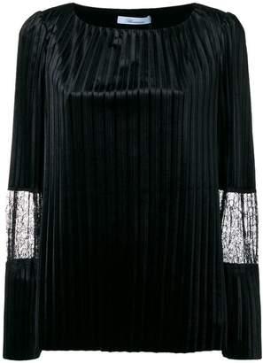 Blumarine lace detail pleated blouse