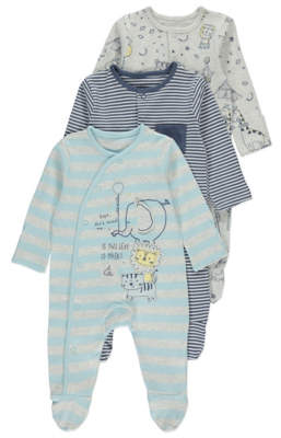 Assorted Circus Sleepsuits 3 Pack