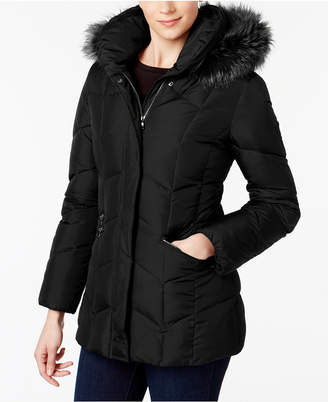 Larry Levine Faux-Fur-Trim Pillow-Collar Puffer Coat