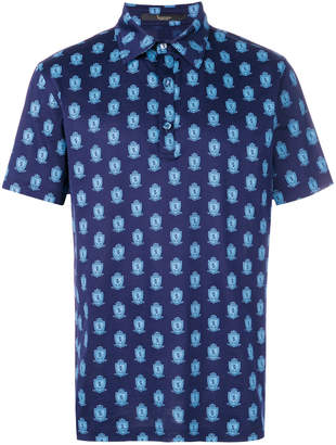 Billionaire logo pattern polo shirt