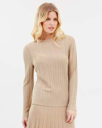 David Lawrence Lurex Pleated Knit Top