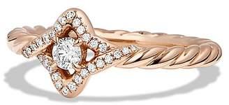 David Yurman Venetian Quatrefoil Ring with Diamonds in 18K Rose Gold