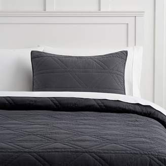Pottery Barn Teen Diamond Stitch Coverlet, Full/Queen, Faded Black