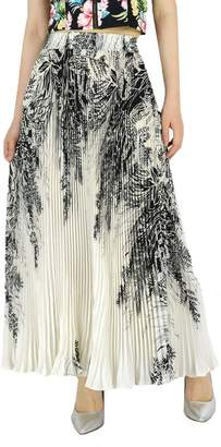 "YSJ Womens Pleated Long Maxi Skirt - 35.4"" Chiffon Floral Vintage Bohemian Full Skirts 1811"