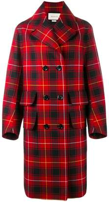 Gucci embroidered tartan overcoat