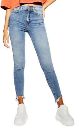 Topshop Jamie High-Rise Skinny Jagged-Hem Jeans 30-Inch Leg