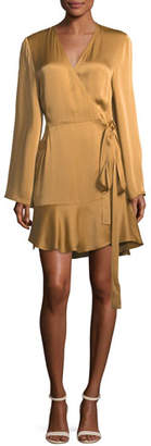 A.L.C. Whitney Long-Sleeve Satin Wrap Dress
