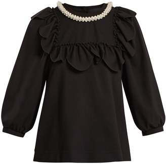 Simone Rocha Embellished-neckline jersey top