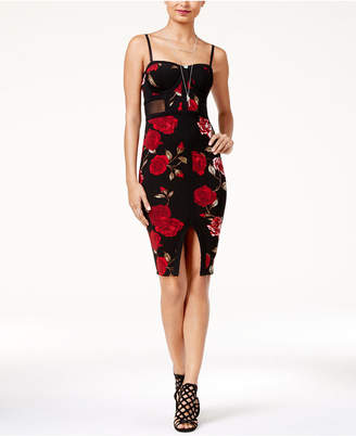 Material Girl Juniors' Printed Illusion Bodycon Dress