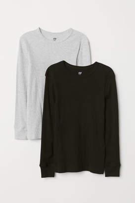 H&M 2-pack Ribbed T-shirts - Black