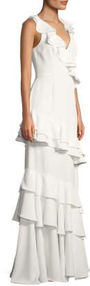 Jay Godfrey Kingston Asymmetric Ruffle Gown