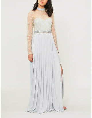 Self-Portrait Floral-embroidered mesh maxi dress