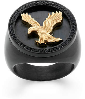FINE JEWELRY Mens Crystal Stainless Steel & Black IP Eagle Signet Ring