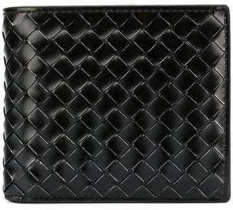 Bottega Veneta nero metal brush calf bi-fold wallet