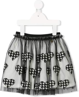 Simonetta houndstooth heart skirt