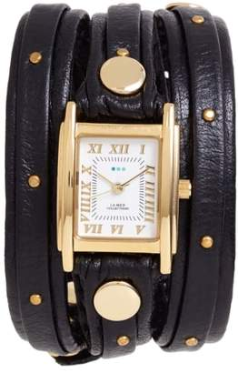 La Mer Studded Leather Wrap Watch, 19mm