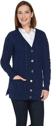 C. Wonder Boyfriend Cable Knit Cardigan with Embellishments