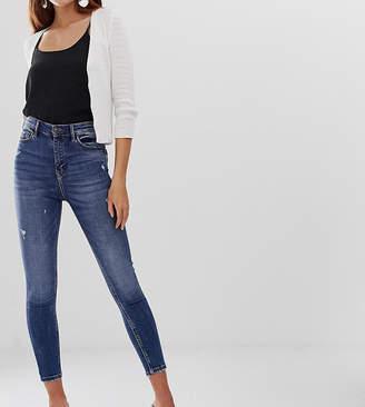 Stradivarius super high waist skinny jean in mid blue