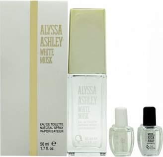Alyssa Ashley White Musk Gift Set 50mL Edt + 5mL Musk Perfume Oil + 5mL White Musk Perfume Oil For Women