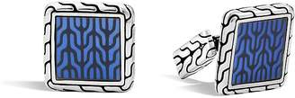 John Hardy Classic Chain Sterling Silver Enamel Square Cufflinks with Transparent Blue Enamel $450 thestylecure.com