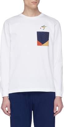 FDMTL Hummingbird embroidered sashiko pocket long sleeve T-shirt