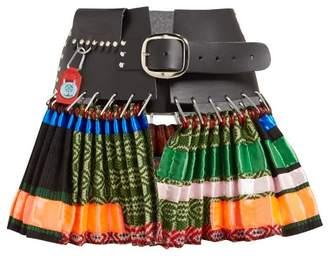 Chopova Lowena - Pleated Leather And Wool Mini Skirt - Womens - Multi