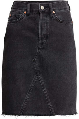 H&M Knee-length Denim Skirt - Black