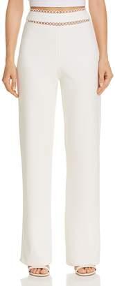 Karina Grimaldi Bessie Eyelet-Inset Straight-Leg Pants
