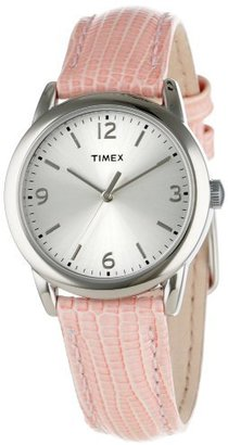 Timex Women's T2P1222M Pink Metallic Lizard Patterned Leather Strap Watch $24.99 thestylecure.com