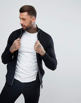 Asos Design DESIGN jersey track jacket in black