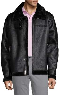 Members Only Faux Shearling-Trimmed Faux Leather Jacket