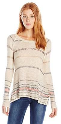 Jolt Women's Long Sleeve Hi-Low Scoop Neck Sweater with Contrast Stripes