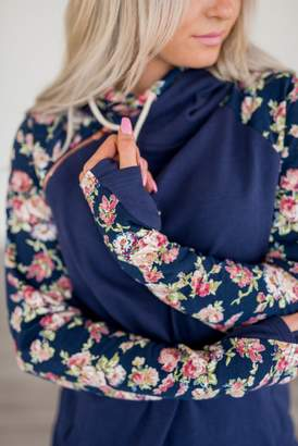 Ampersand Avenue Baseball DoubleHood Sweatshirt - Navy Floral