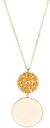 Panacea Agate & Crystal Circle Pendant Necklace