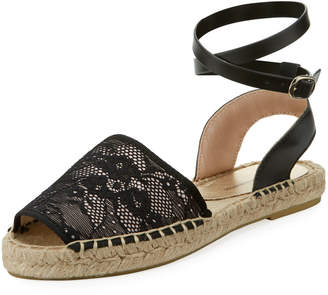 Neiman Marcus Reseda Lace Ankle-Strap Flat Espadrille