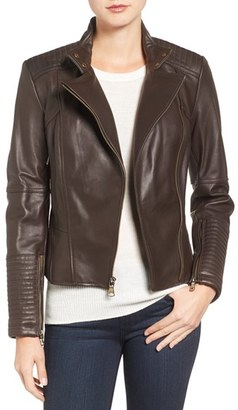 Women's Vince Camuto Asymmetrical Leather Moto Jacket $570 thestylecure.com