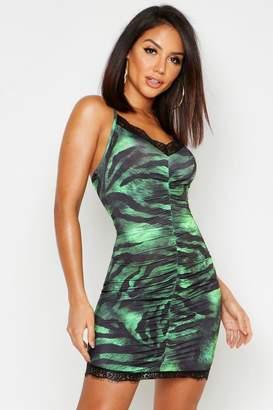 boohoo Tiger Print Lace Trim Mini Dress